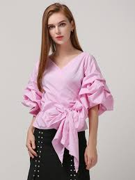 Blouse With Big Bow Big Bow Lace Up Puff Sleeves Low Cut V Neck Blouse Shirt