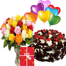 balloons and chocolate delivery online 41 mixed roses bunch and half kilo black forest cake and card