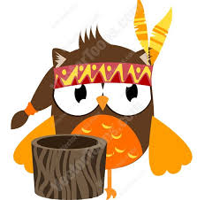 thanksgiving indian owl with feather headband next to tree stump