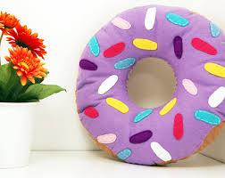 lilac ring donut cushion doughnut toy plush doughnut food