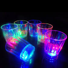 glow in the cups 24pcs small rgb led glow glass colorful flash led glbum