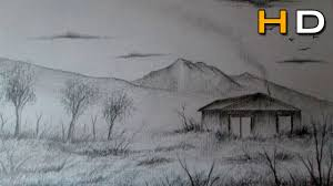 how to draw a easy landscape with pencil step by step timelapse