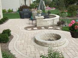 patio ideas on a budget perfect exterior design with round paved fire pit for excellent
