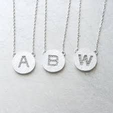 white gold initial disc necklace pave white gold disc personalized initial necklace sterling silver