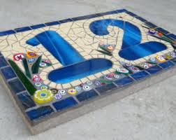 glass door number signs mosaic house number etsy