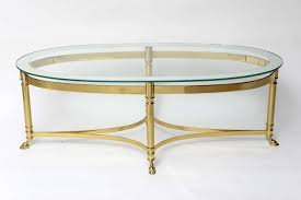 Brass Glass Coffee Table Glass Top Oval Mirrored Coffee Table With Brass Frame And Legs On