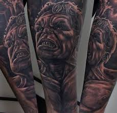 spectacular black and white forearm tattoo of detailed hulk
