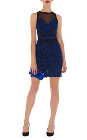 karen millen blue lace pencil dress blue multi karen millen sale