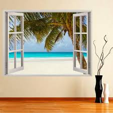 hot huge 3d window wall sticker tropical beach decal mural wall hot huge 3d window wall sticker tropical beach decal mural wall art vinyl