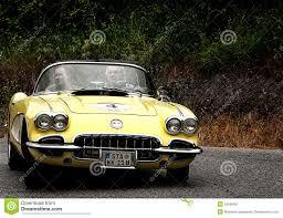 corvette cabrio yellow chevrolet corvette cabrio editorial photography image