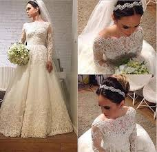 stunning 2015 lace winter wedding dresses long sleeves appliques