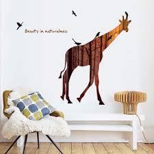 deer home decor nordic style jungle giraffe silhouette wall sticker home decor
