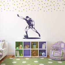 sports wall decals bring inspiration to your boy s bedroom 28 sport wall stickers footballer running sports wall art throughout sports wall
