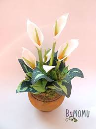 clay flowers cold porcelain miniature peace lily home decor hand
