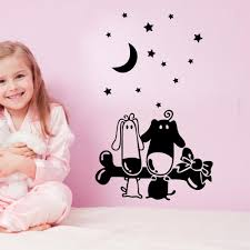 cartoon puppy bones wall art mural decal sticker little star moon cartoon puppy bones wall art mural decal sticker little star moon wallpaper decoration poster home art decor kids boys girls room wall decal word wall