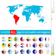 America World Map by Flat Round Flags Of South America Complete Set And World Map Stock