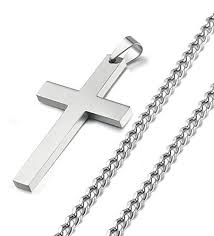 metal cross necklace images Steel stainless steel cross pendant chain necklace for men women jpg