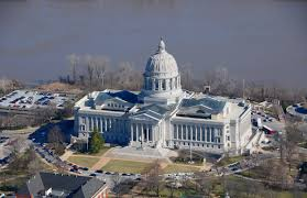 missouri state capitol building aerial view jefferson city mo
