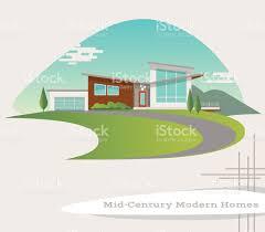 1950 Style Homes Mid Century Modern Style House Retro Vector Illustration Stock