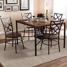 natural wood dining room tables baxton studio vintner 5 piece black metal and natural wood dining
