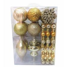 living 40 pack chagne and gold shatterproof ornament set