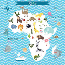 Maps Of Africa by Cartoon Map Of Africa Continent With Different Animals Stock