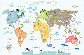 Canvas Map Of The World by Sugar Snap Prints My First World Map Canvas 50 X 70cm