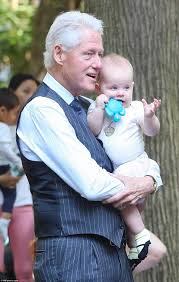 bill clinton plays in the park with chelsea u0027s baby charlotte