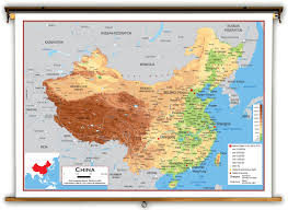 Chengdu China Map by China Physical Educational Wall Map From Academia Maps