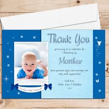Baptism Card Invitation 10 Personalised Boys Star Glow Christening Baptism Thank You Photo