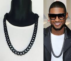 colored chain link necklace images Mens iced out hip hop 15mm black finish rappers miami cuban link jpg