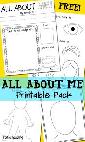 all about me free printable pack totschooling toddler