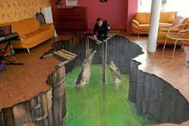 trippy 3d floor painting might eat you if it gets hungry curbed