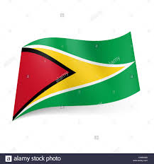 Flag Triangle National Flag Of Guyana Black Framed Red Triangle Within White
