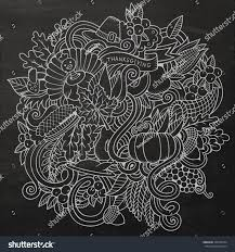 vector handdrawn doodle thanksgiving chalkboard stock