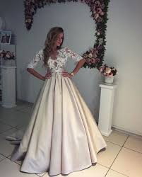 wedding and occasion dresses half sleeve satin skirt lace bodice modern wedding dress formal