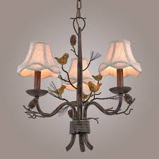 Bird Pendant Light Rustic Pinecone Bird Fabric Bell Shade Metal Branch Chandelier