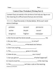 context clues worksheet writing part 7 intermediate great