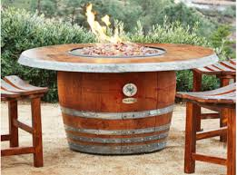 wine barrel fire table vin de flame the reserve wine barrel fire pit table with wood stave