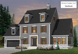 colonial garage plans w3866 maison américaine 3 étages 3 à 5 chambres suite des