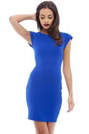 women u0027s waffle bodycon shoulder pad blue dress ax paris usa