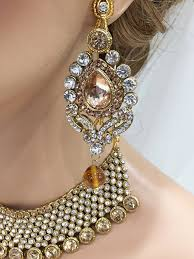 fashion necklace set images Gold champagne crystal bridal kundan necklace earrings jewelry set jpg