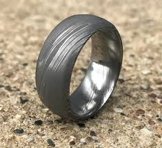 beveled ring men s beveled edge dome profile damascus steel ring unique