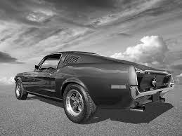 Mustang In Black Bullitt Mustang 1968 In Black And White Photograph By Gill Billington