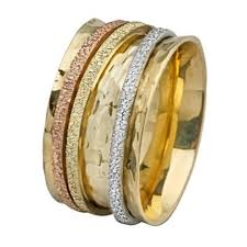 tricolor ring tri color gold spinning wedding ring baltinesterjewelry