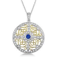 vintage diamond necklace pendants images Antique filigree sapphire diamond pendant 14k two tone gold 0 51ct jpg