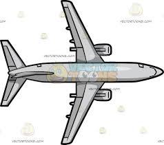 bottom view of a passenger aircraft cartoon clipart vector toons