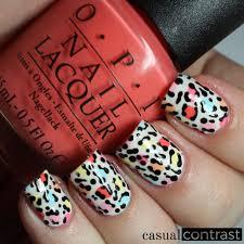 leopard nail art featuring opi retro summer u2022 casual contrast