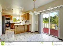 countryside house interior bright kitchen room with walkout dec