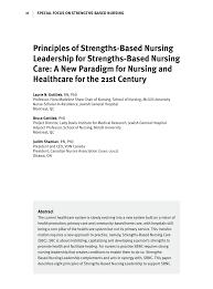 principles of strengths based nursing leadership for strengths